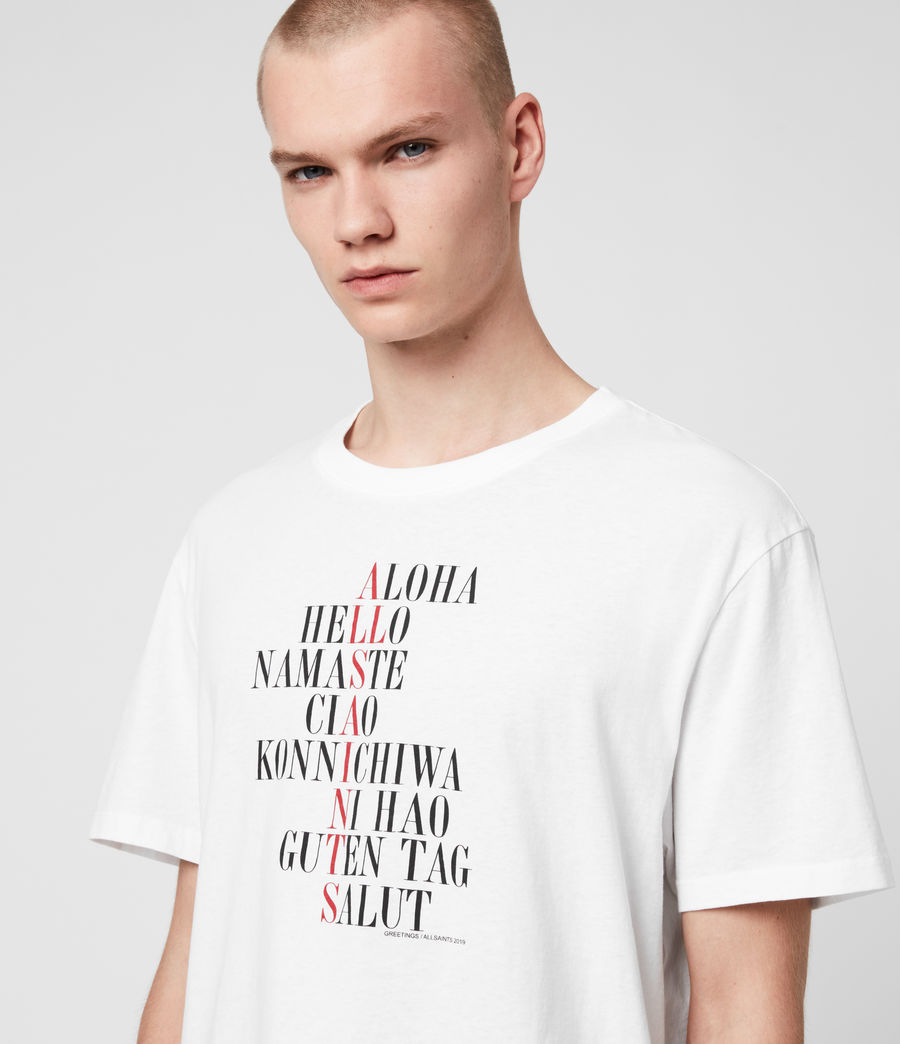 Uomo T-shirt Greetings - In cotone con grafica (optic_white) - Image 2
