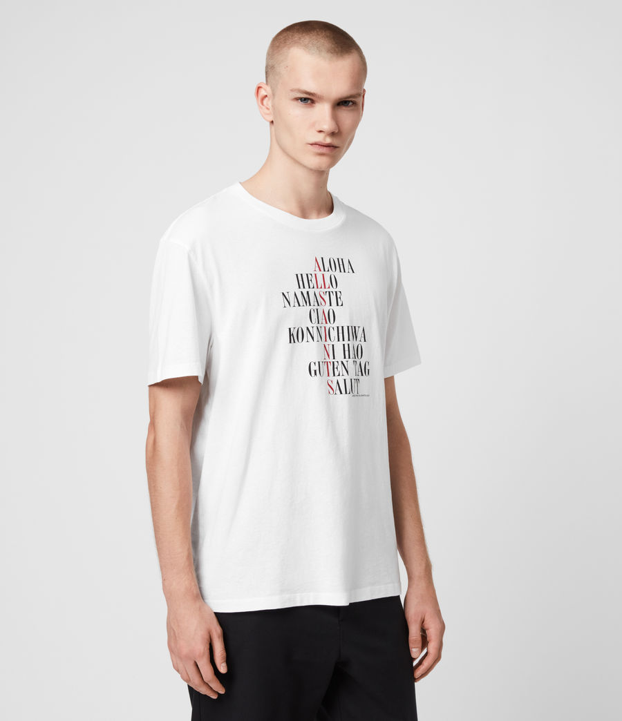 Uomo T-shirt Greetings - In cotone con grafica (optic_white) - Image 4