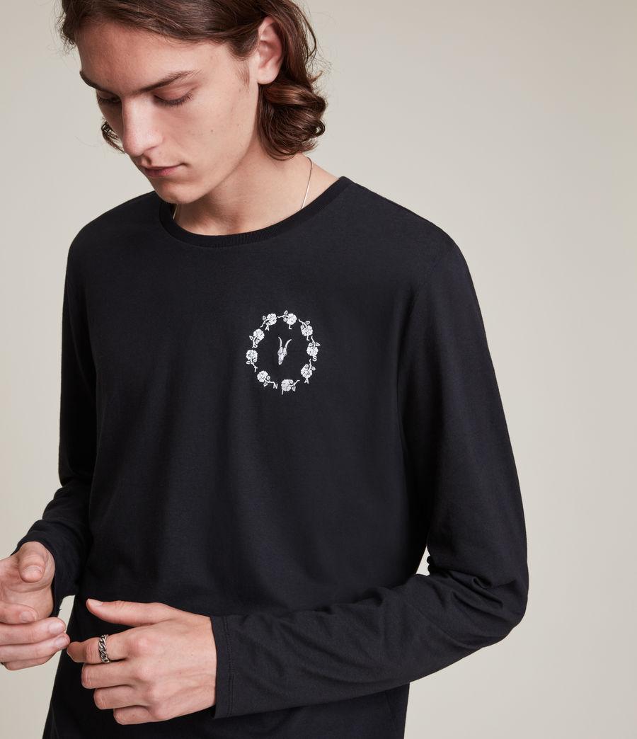 Herren Bunch Brace Long Sleeve Crew T-Shirt (jet_black) - Image 2