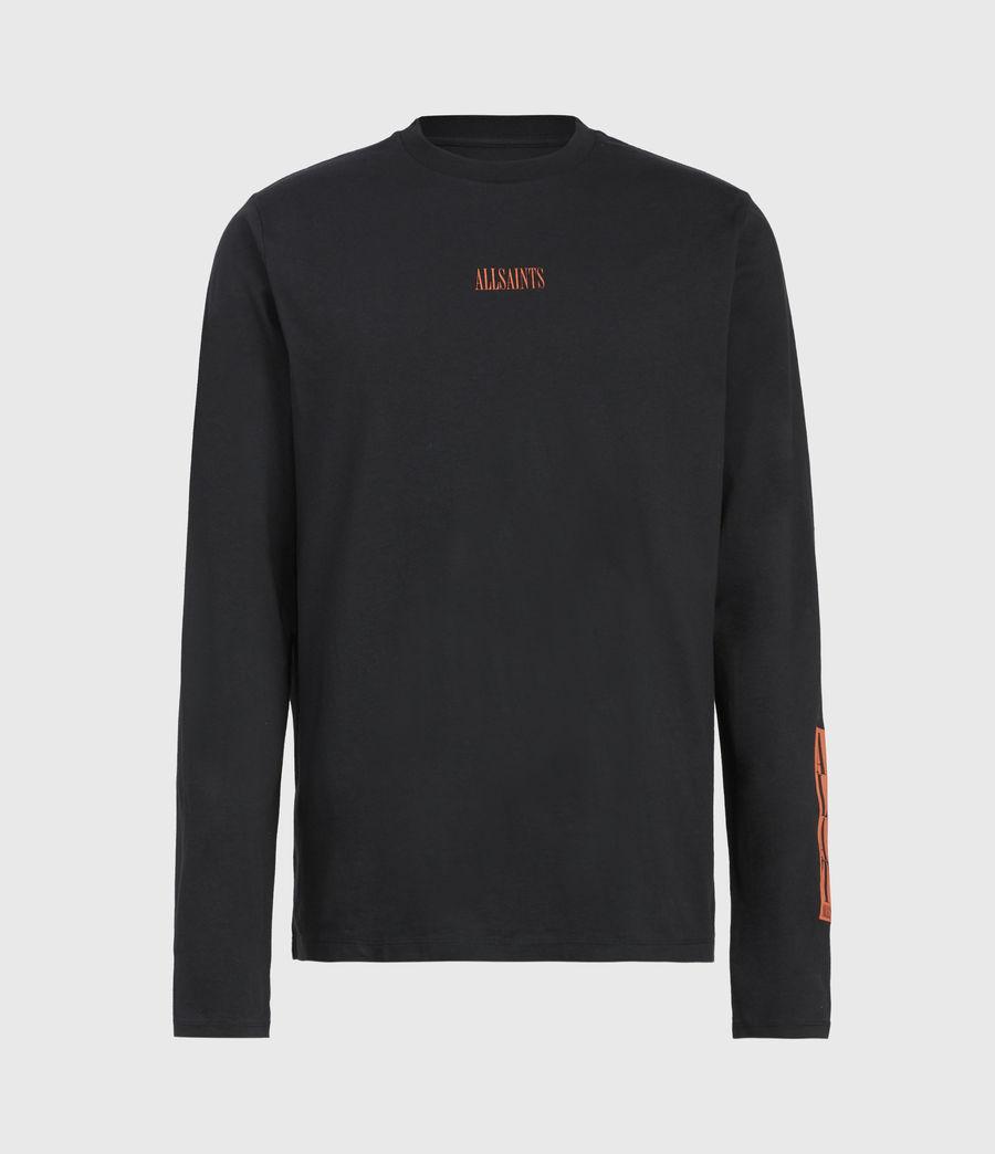Mens Vertice Long Sleeve Crew T-Shirt (vintage_black) - Image 2