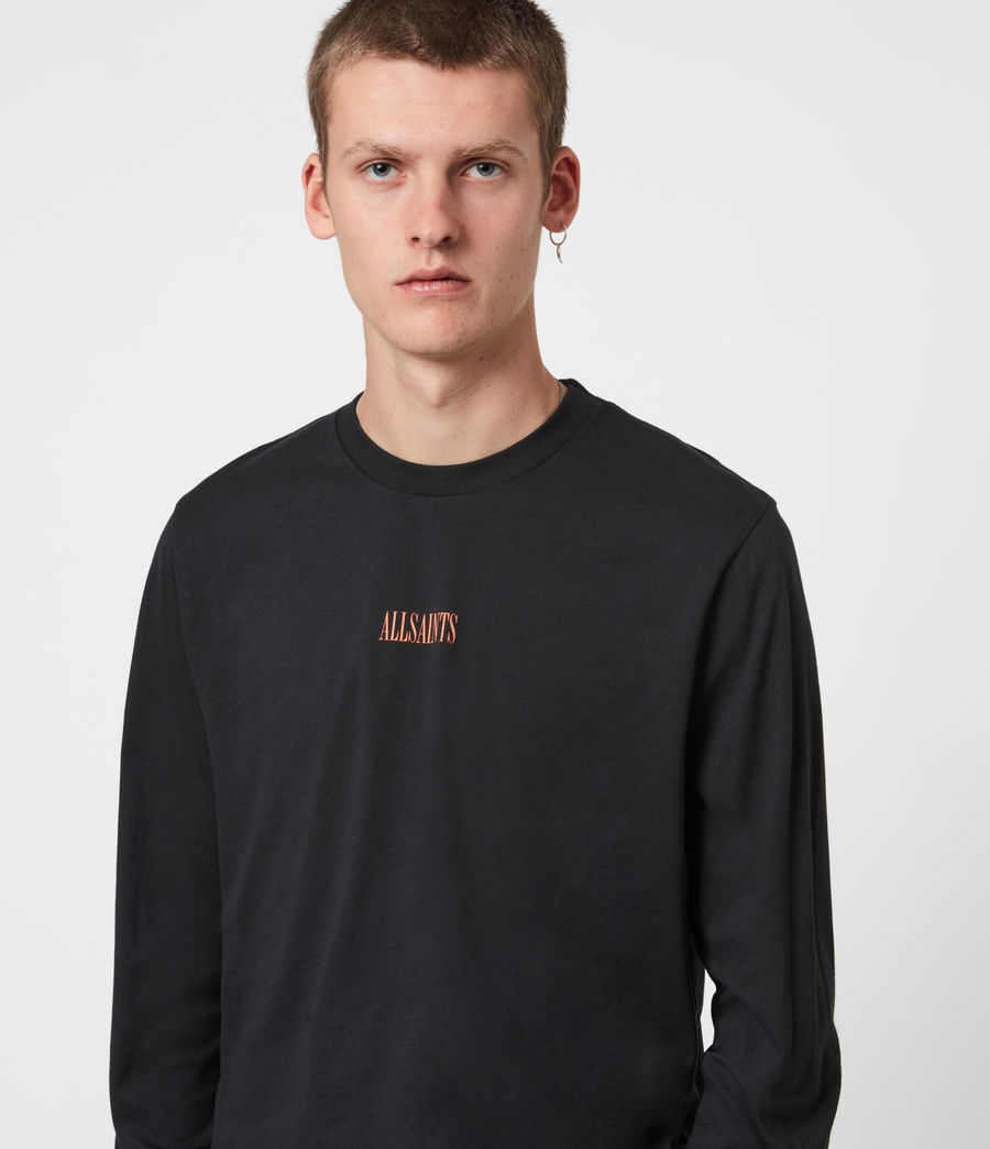 Mens Vertice Long Sleeve Crew T-Shirt (vintage_black) - Image 4