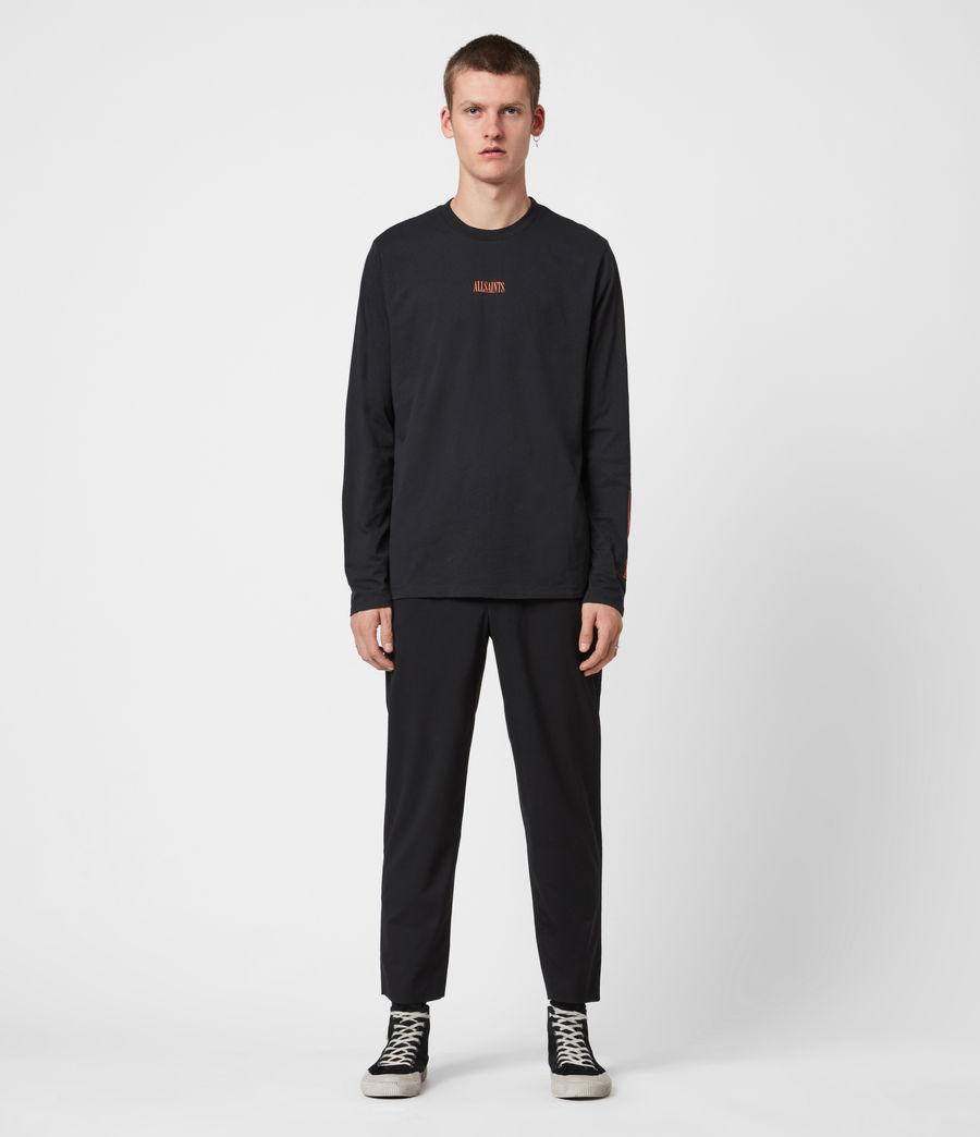 Mens Vertice Long Sleeve Crew T-Shirt (vintage_black) - Image 8