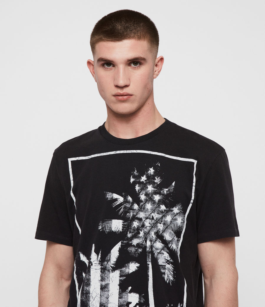 Mens Twilight N Stars Crew T-Shirt (vintage_blk_white) - Image 1