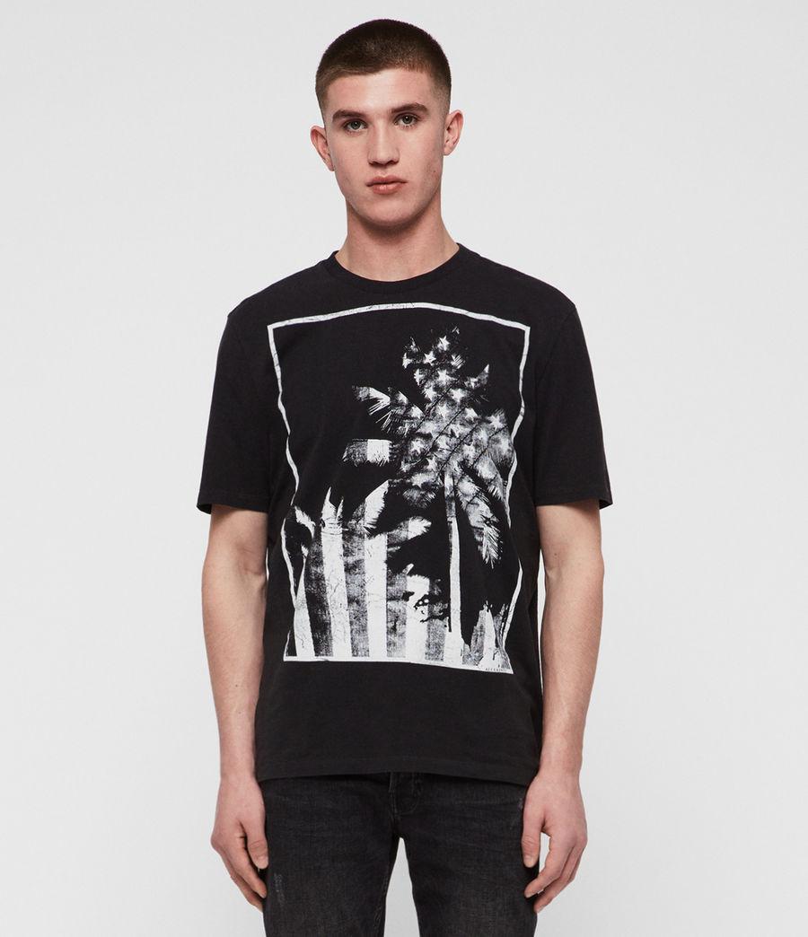 Mens Twilight N Stars Crew T-Shirt (vintage_blk_white) - Image 2