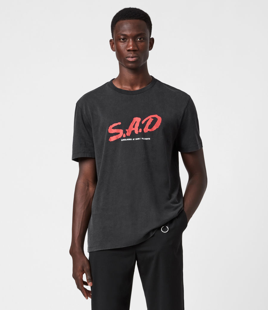 Mens Sad Crew T-Shirt (jet_black) - Image 1