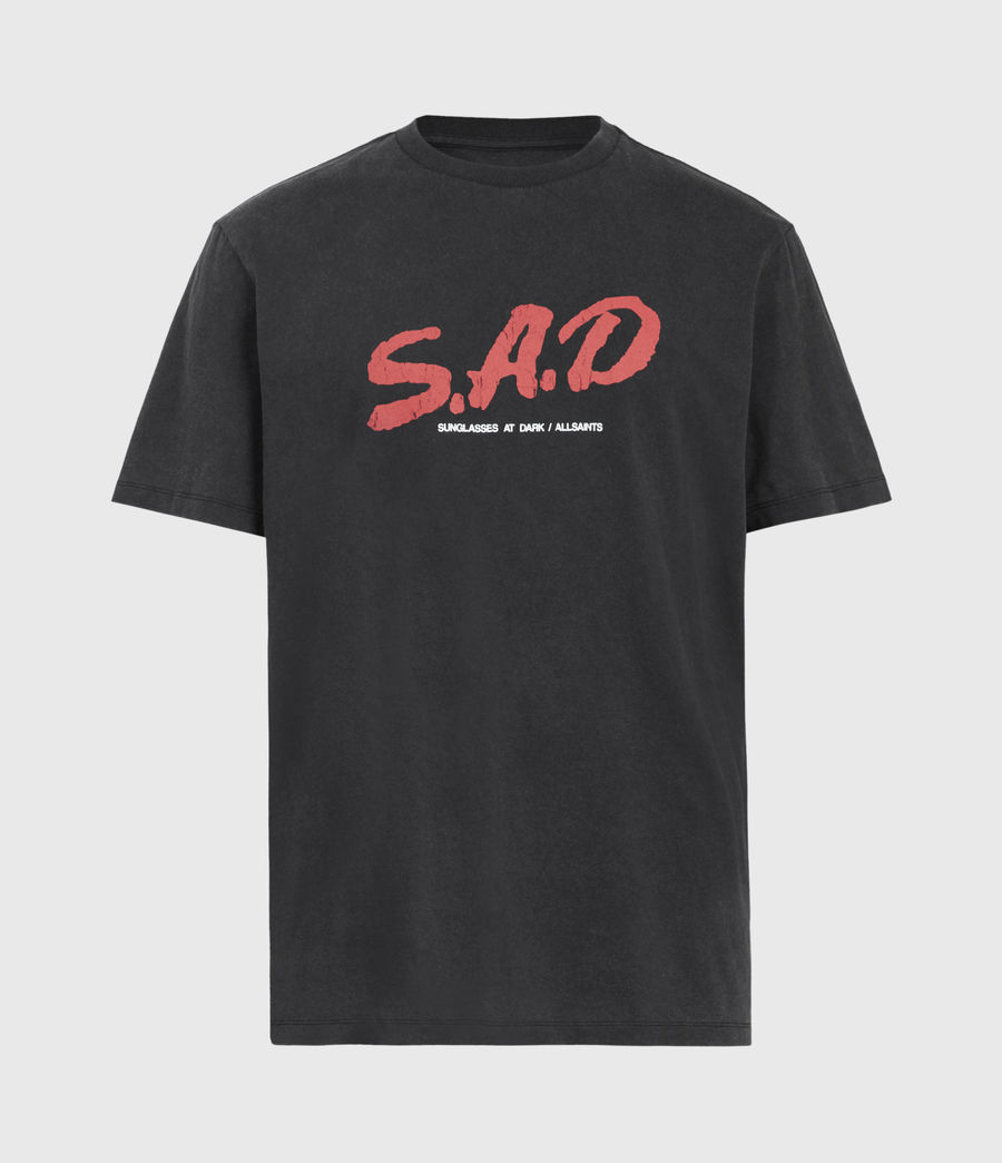 Mens Sad Crew T-Shirt (jet_black) - Image 2