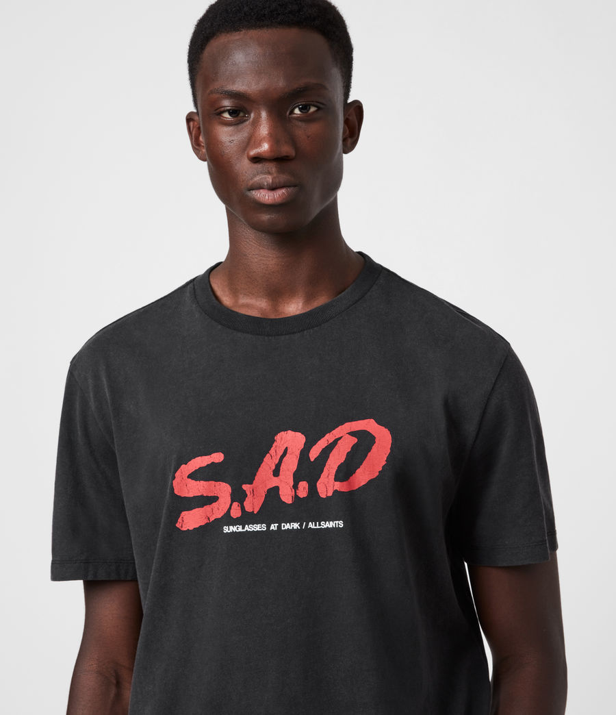 Mens Sad Crew T-Shirt (jet_black) - Image 4