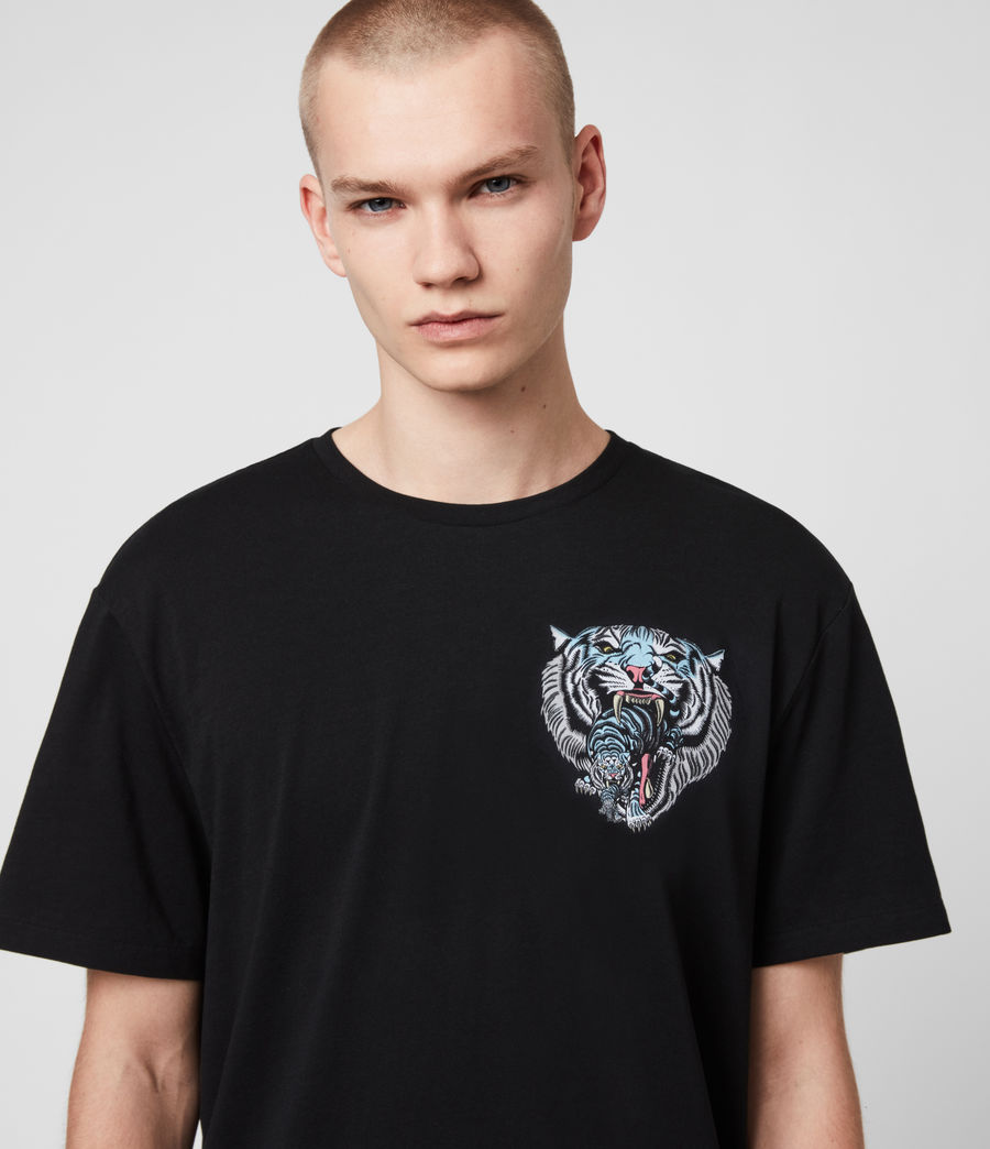 Mens Twin Tiger Short Sleeve Crew T-Shirt (jet_black) - Image 1