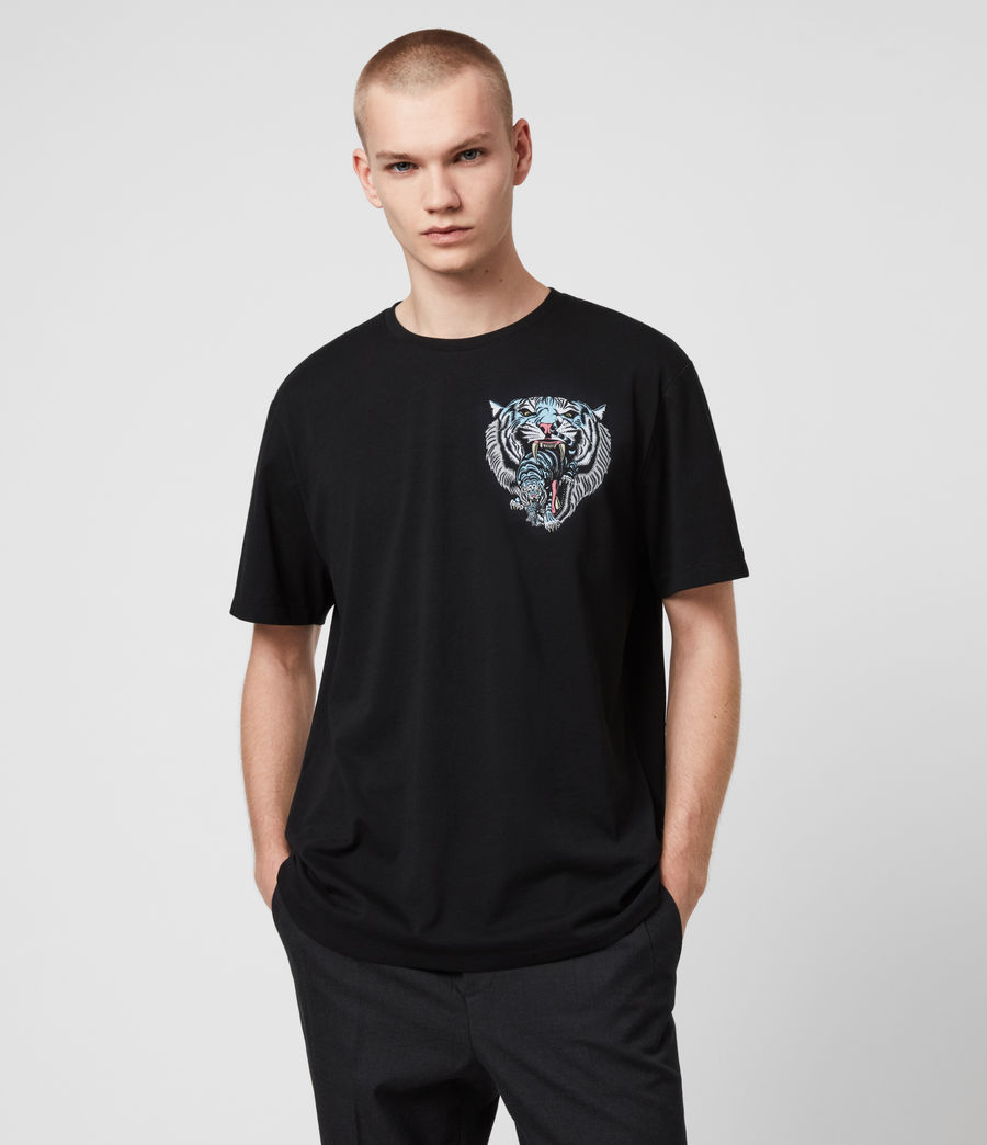 Mens Twin Tiger Short Sleeve Crew T-Shirt (jet_black) - Image 2