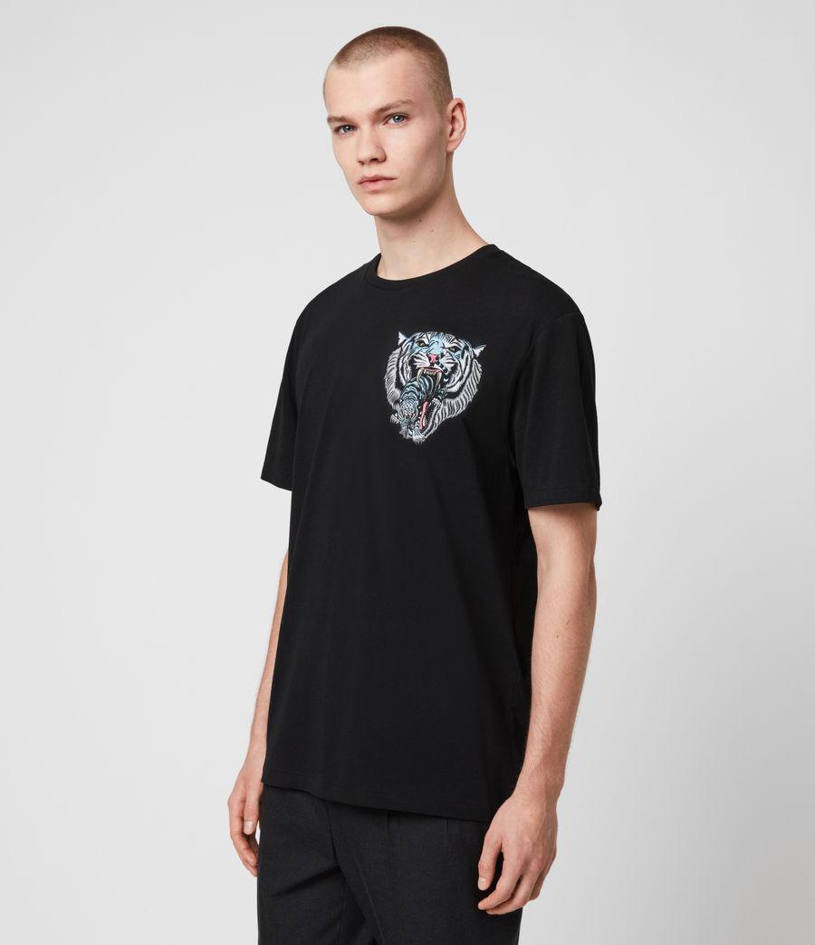 Mens Twin Tiger Short Sleeve Crew T-Shirt (jet_black) - Image 4