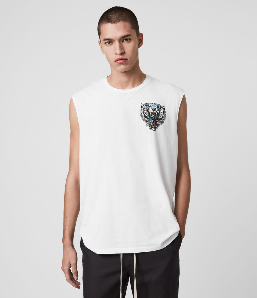 Hombres Twin Tiger Sleeveless Crew T-Shirt (optic_white) - Image 1