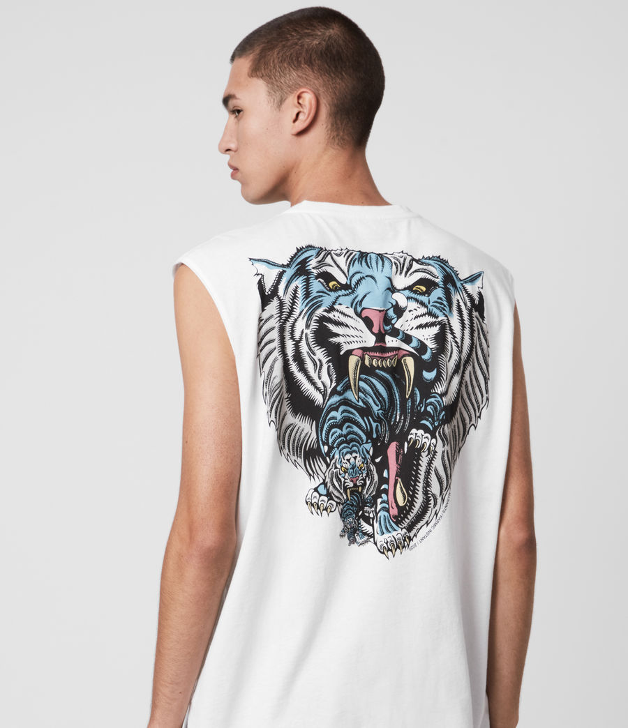 Hombres Twin Tiger Sleeveless Crew T-Shirt (optic_white) - Image 2