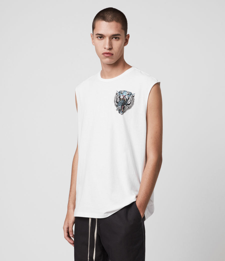 Hombres Twin Tiger Sleeveless Crew T-Shirt (optic_white) - Image 5
