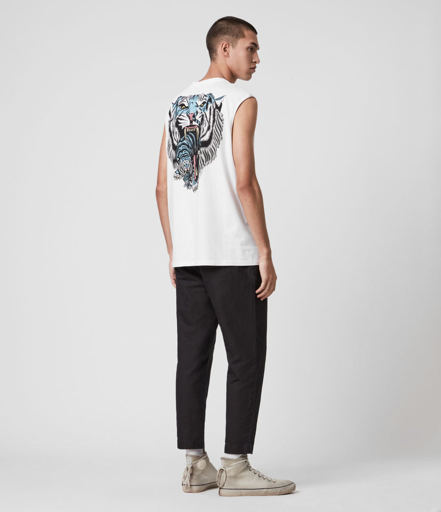Hombres Twin Tiger Sleeveless Crew T-Shirt (optic_white) - Image 6