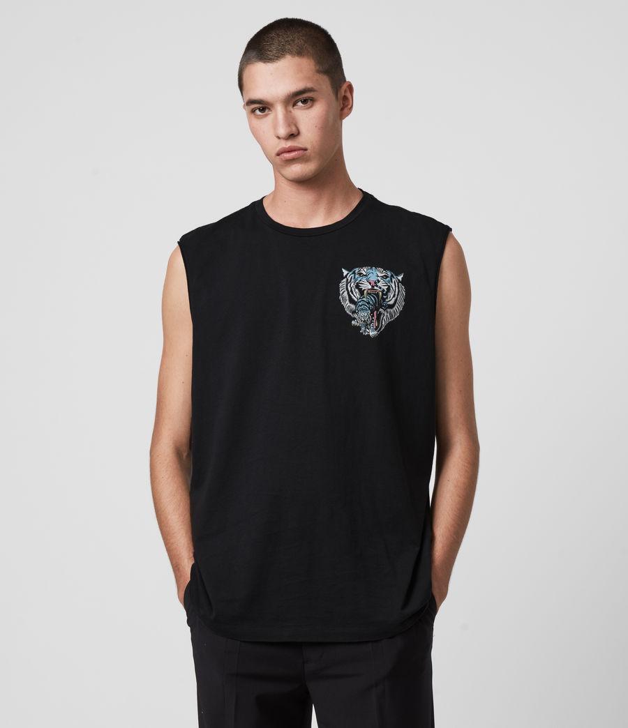 Mens Twin Tiger Sleeveless Crew T-Shirt (jet_black) - Image 1