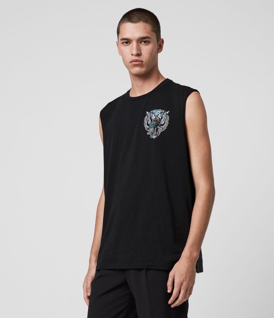 Mens Twin Tiger Sleeveless Crew T-Shirt (jet_black) - Image 4