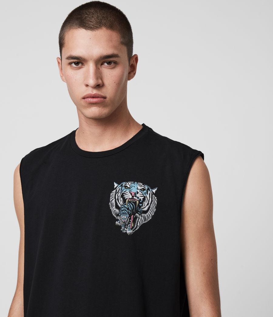 Mens Twin Tiger Sleeveless Crew T-Shirt (jet_black) - Image 5