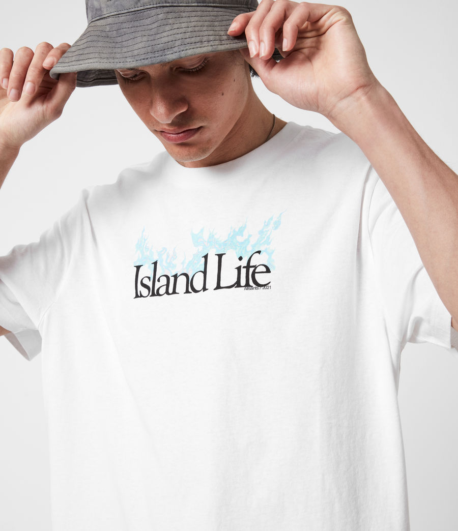Men's Island Life Crew T-Shirt (optic_white) - Image 4