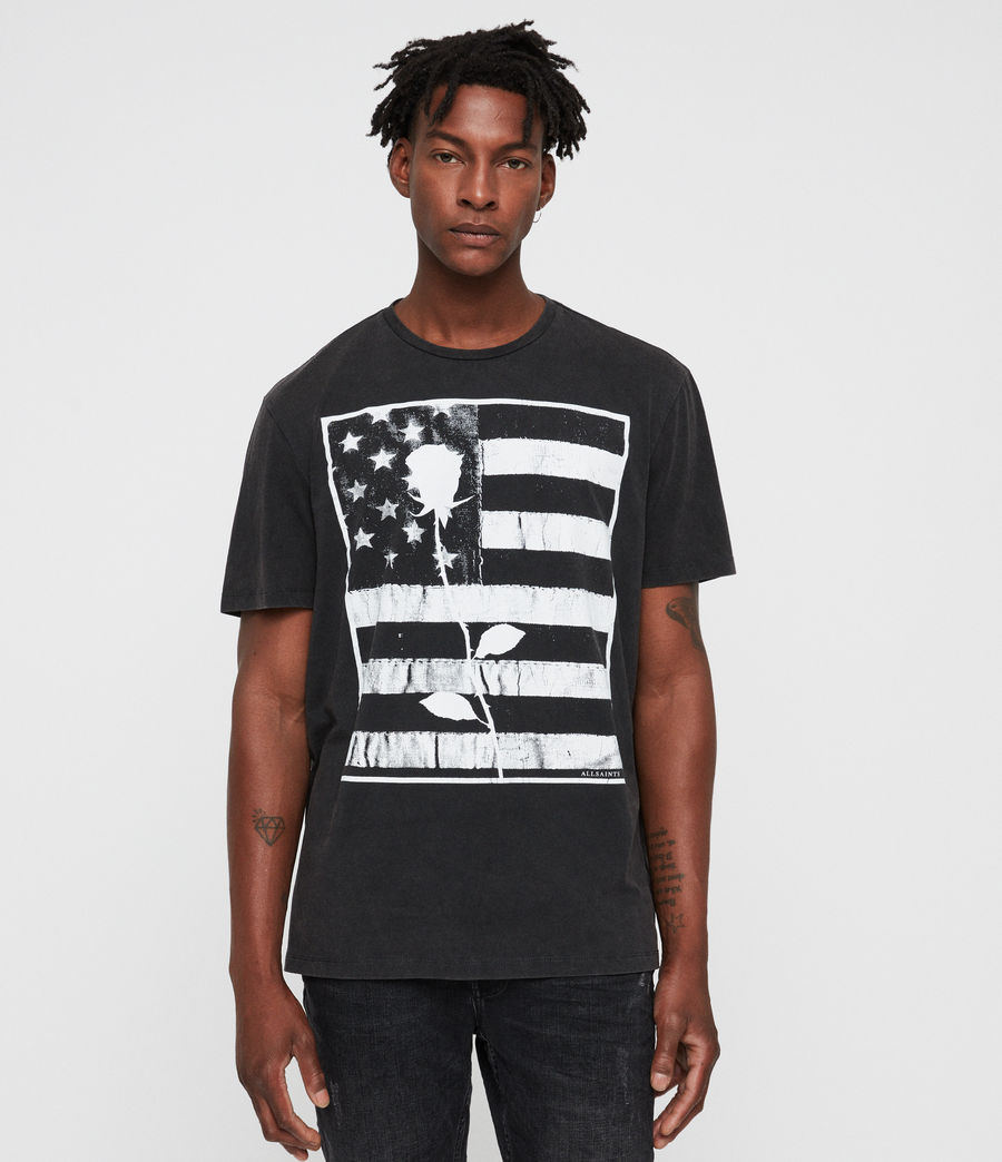Hombre Stars And Bars Crew T-Shirt (vintage_black) - Image 1