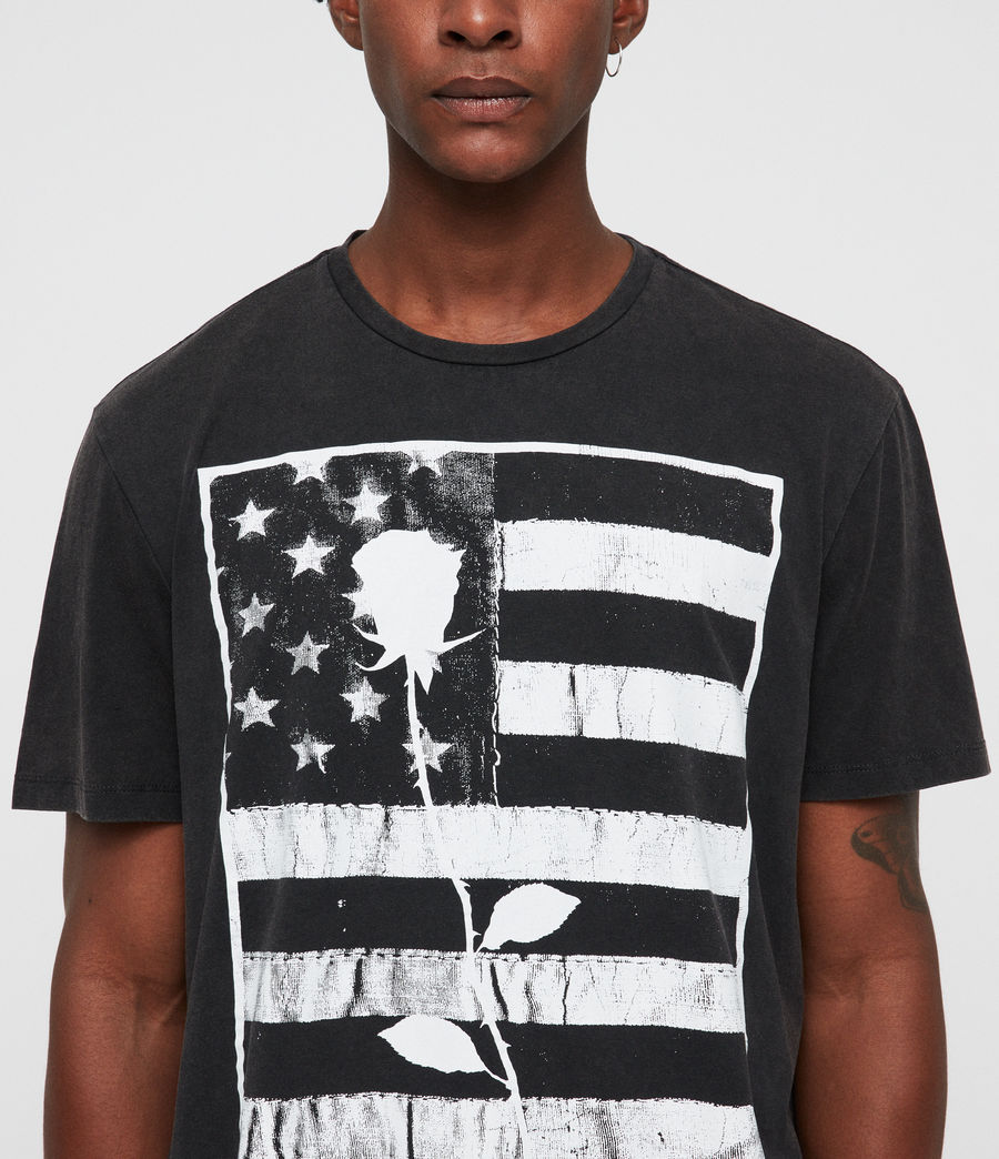 Hombre Stars And Bars Crew T-Shirt (vintage_black) - Image 2