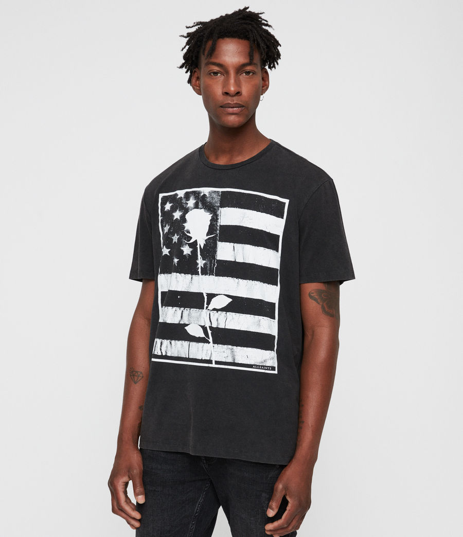 Hombre Stars And Bars Crew T-Shirt (vintage_black) - Image 4