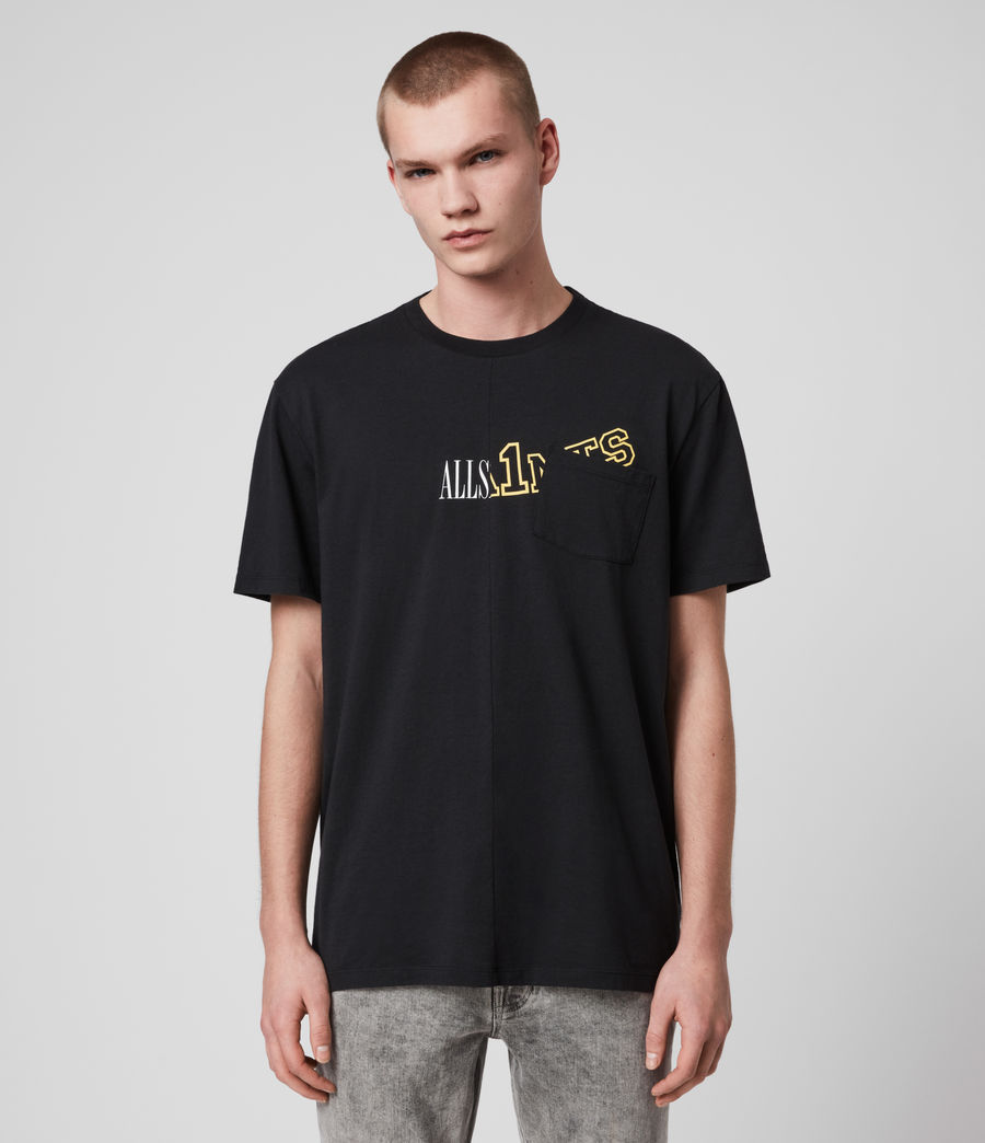 Hommes College Patch Crew T-Shirt (jet_black) - Image 1