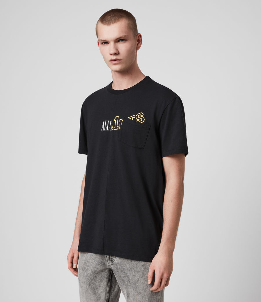 Hommes College Patch Crew T-Shirt (jet_black) - Image 3