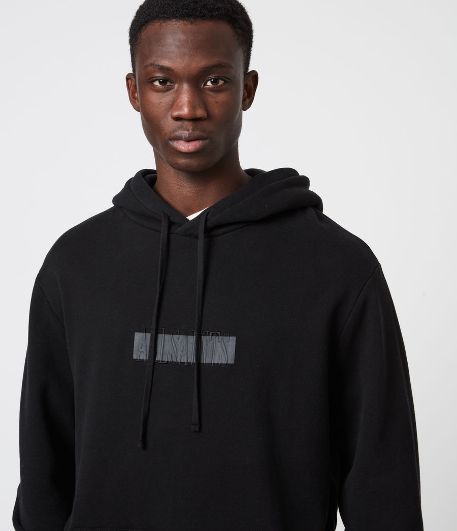 Mens Stamp Laminate Hoodie (jet_black) - Image 4