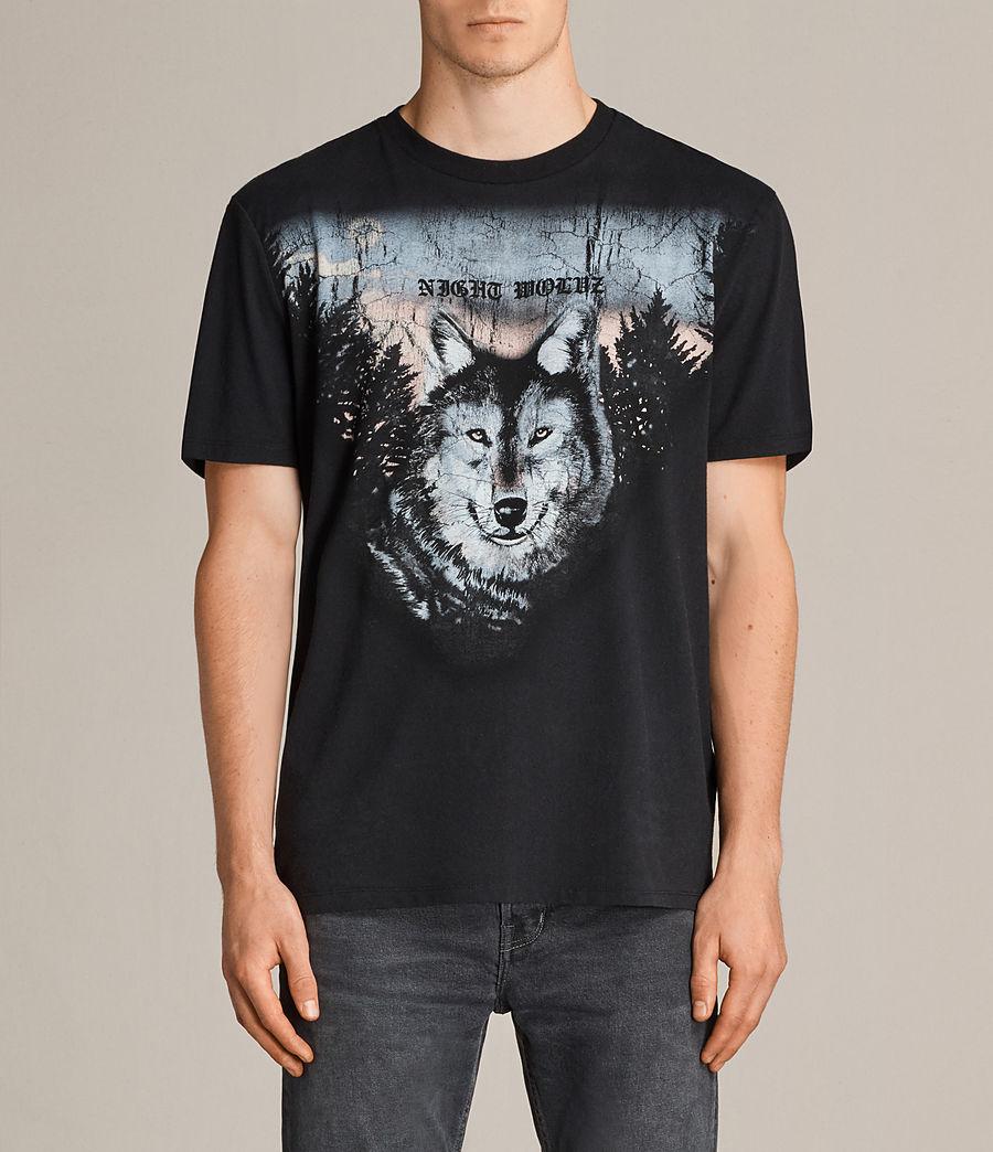 Mens Night Wolvs Crew T-Shirt (black) - Image 1