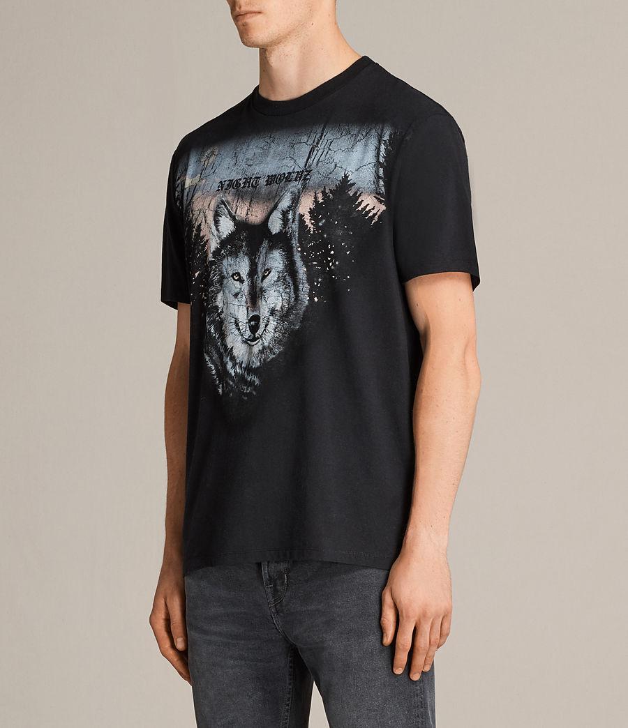 Mens Night Wolvs Crew T-Shirt (black) - Image 2