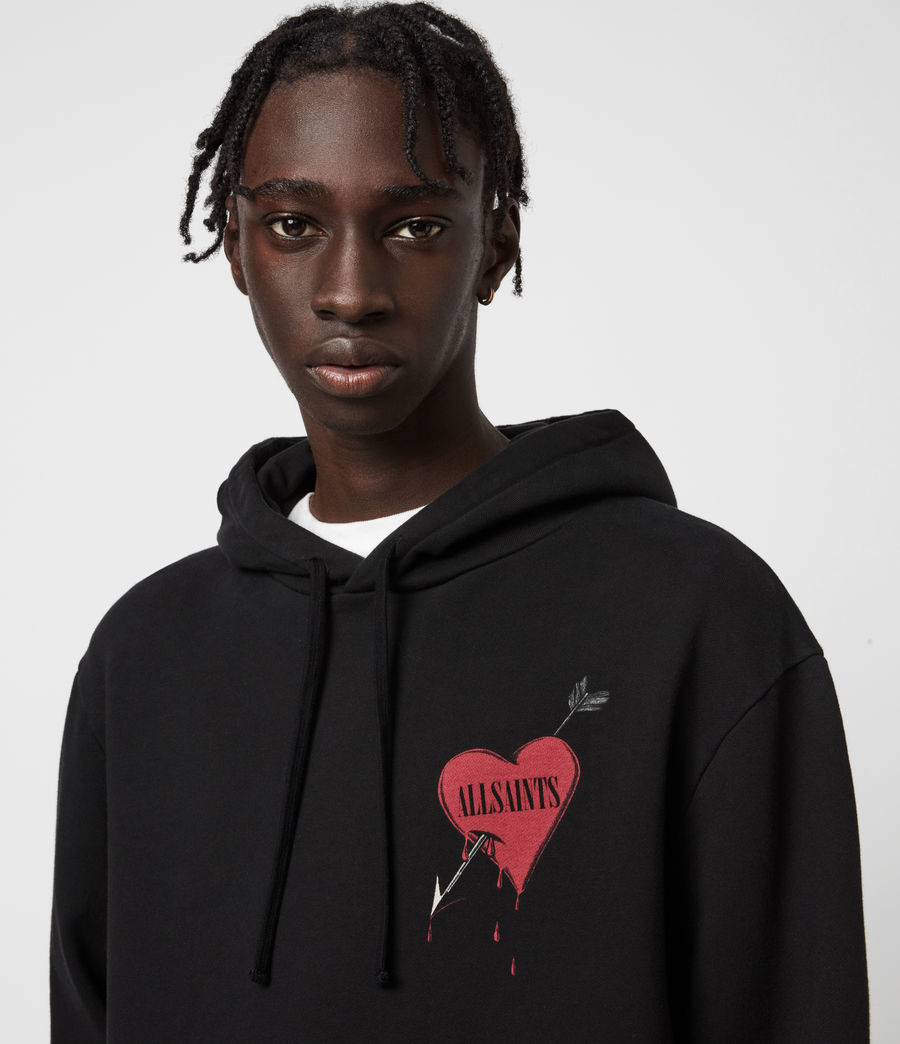 Men's Bleeding Heart Pullover Hoodie (black) - Image 4