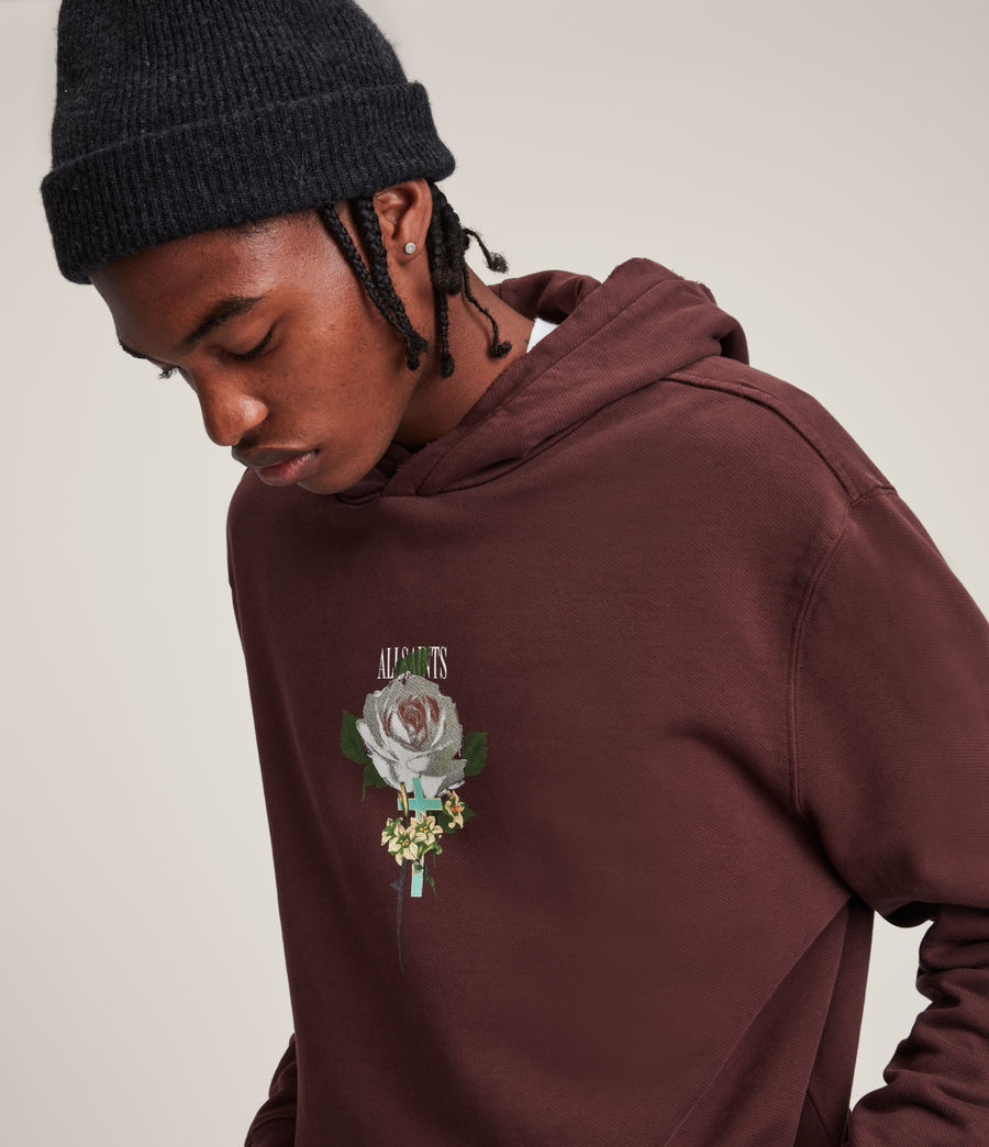 Hommes Wreath Pullover Hoodie (charred_red) - Image 2