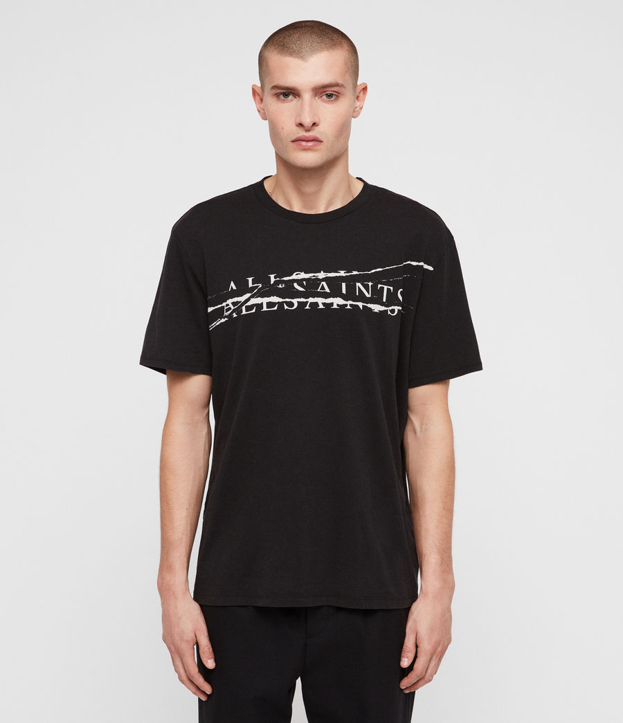 Men's Ripped Crew T-Shirt (vintage_blk_white) - Image 1