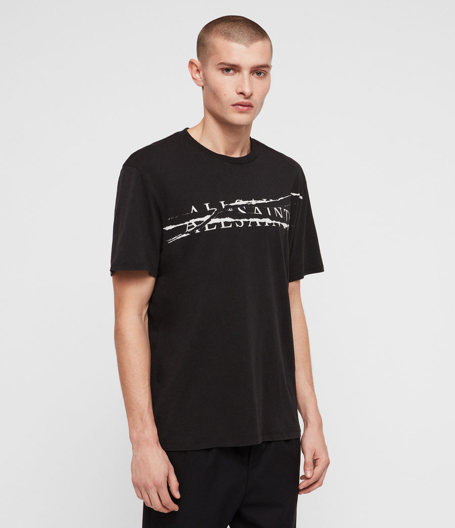 Men's Ripped Crew T-Shirt (vintage_blk_white) - Image 4