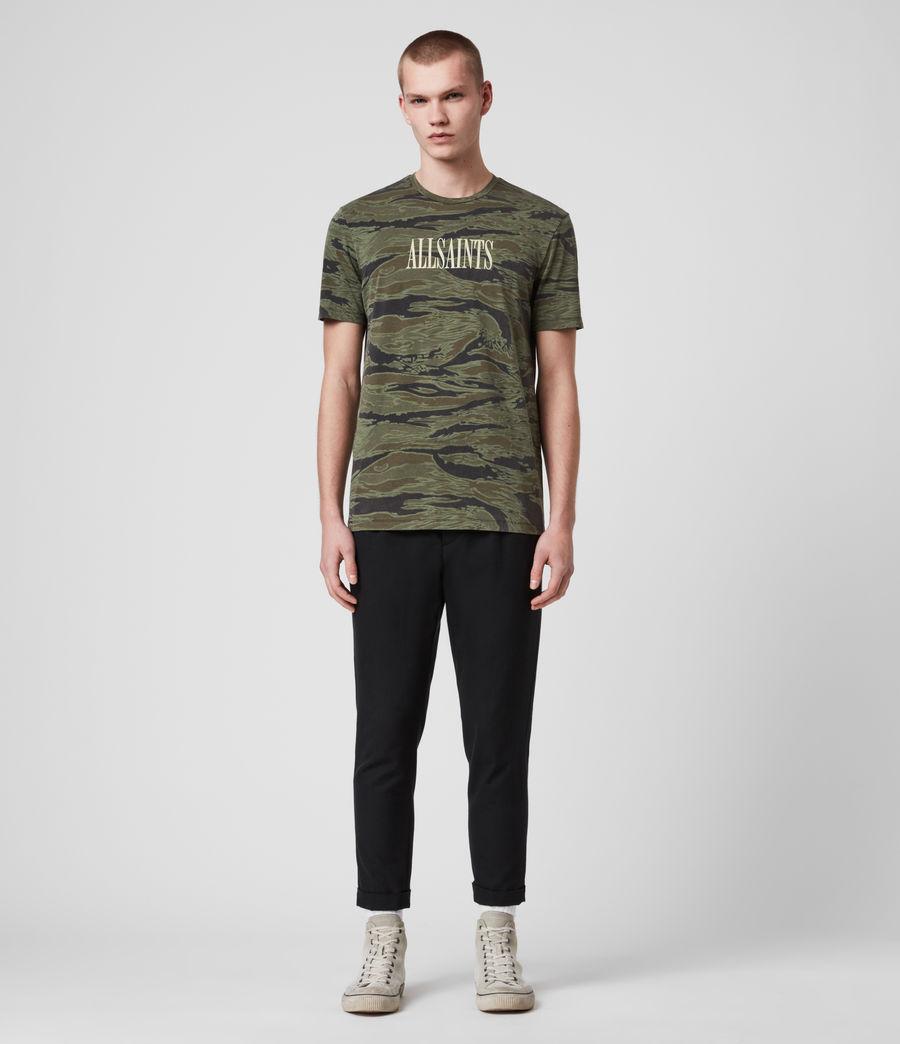 Hombres Stamp Camo Crew T-Shirt (tiger_camo_black) - Image 1