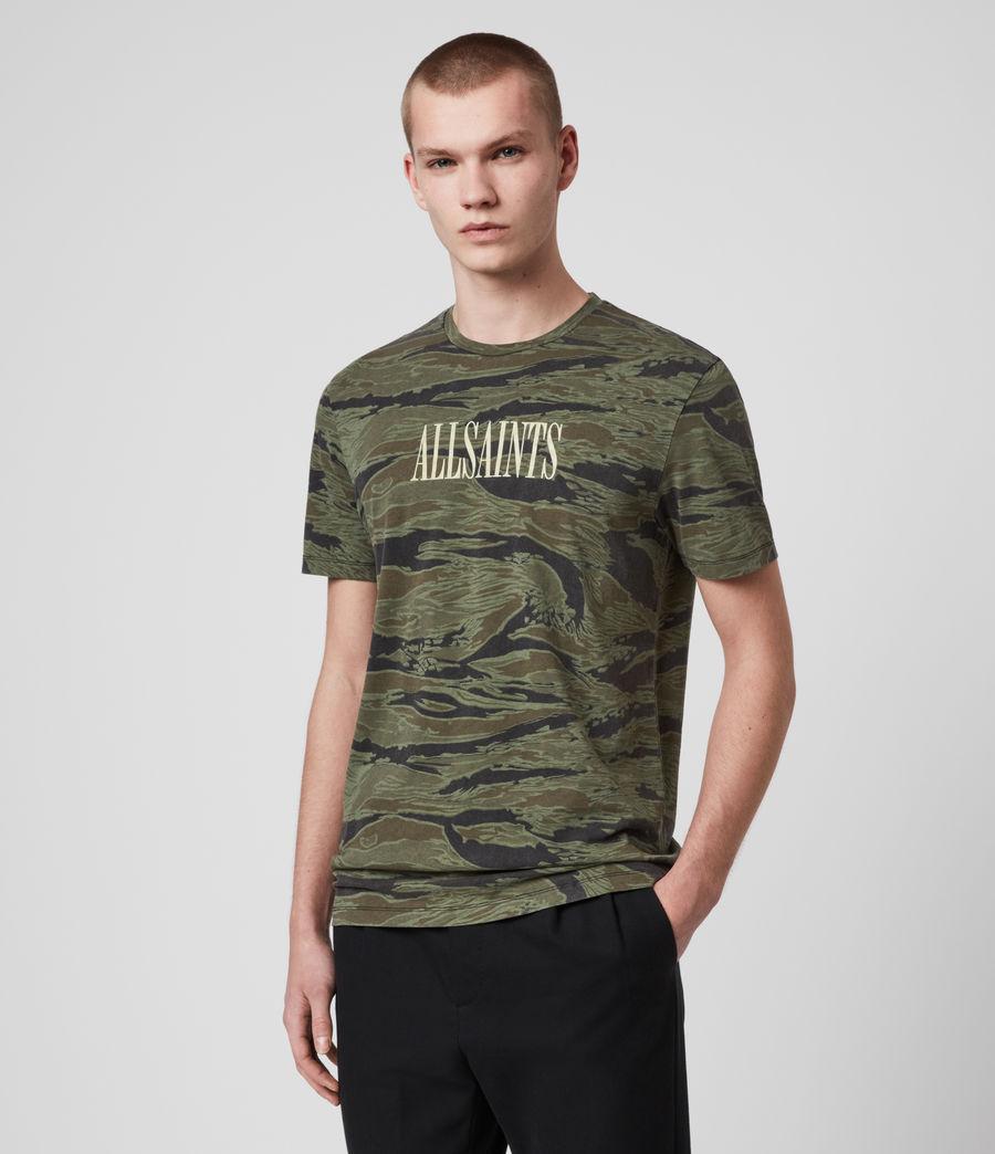 Hombres Stamp Camo Crew T-Shirt (tiger_camo_black) - Image 2