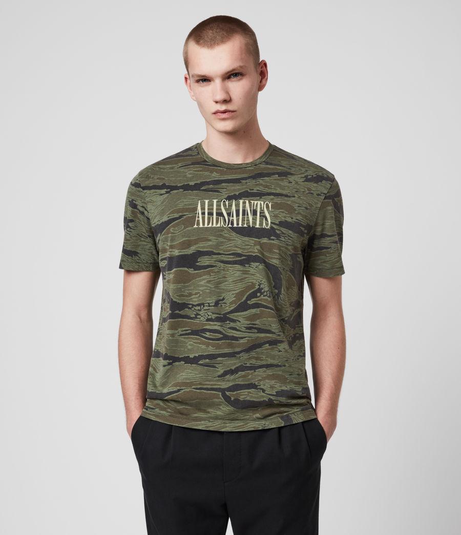 Hombres Stamp Camo Crew T-Shirt (tiger_camo_black) - Image 3