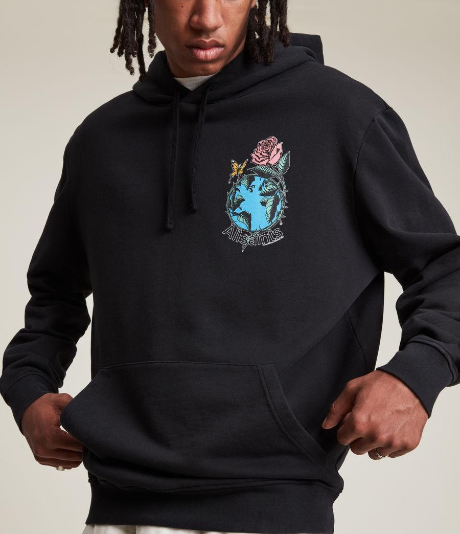 Hommes Aquatique Pullover Hoodie (jet_black) - Image 3