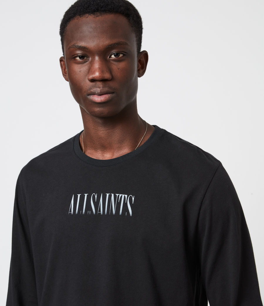 Men's Fadeout Stamp Long Sleeve Crew T-Shirt (jet_black) - Image 7