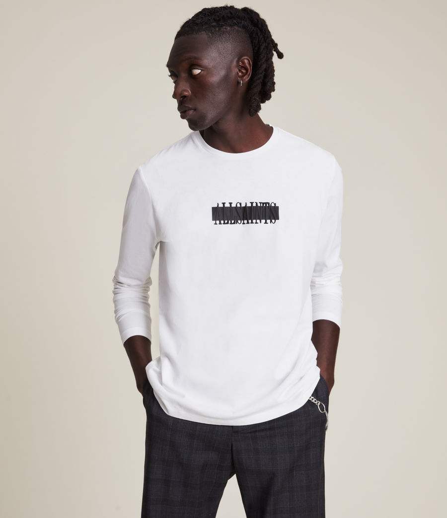 Mens Stamp Laminate Long Sleeve Crew T-Shirt (optic_white) - Image 1