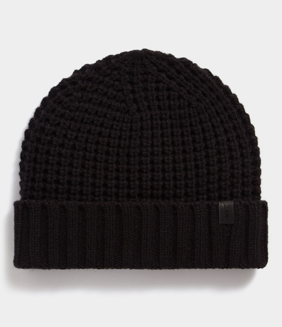 Mens Thermal Stitch Beanie (black) - Image 1