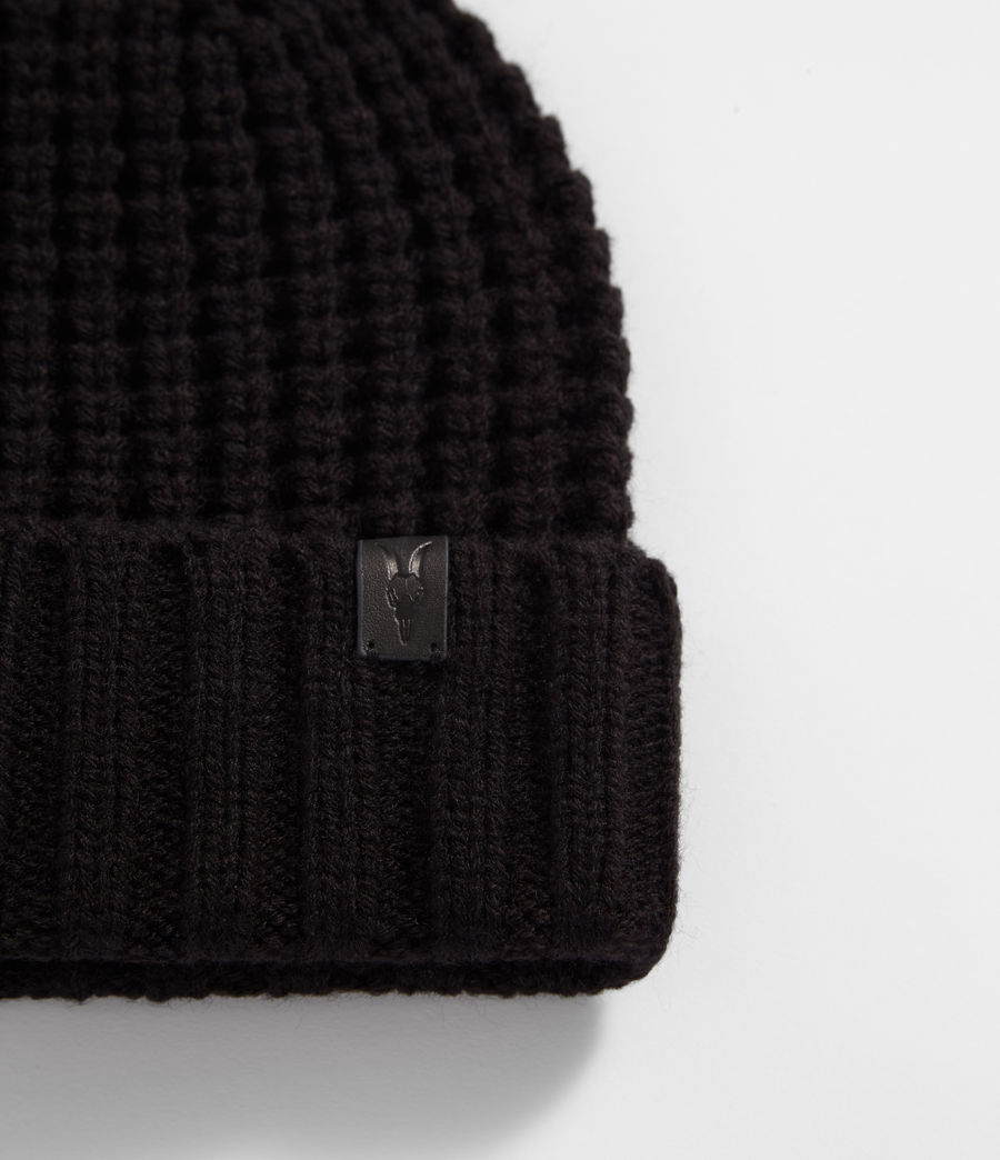 Mens Thermal Stitch Beanie (black) - Image 2