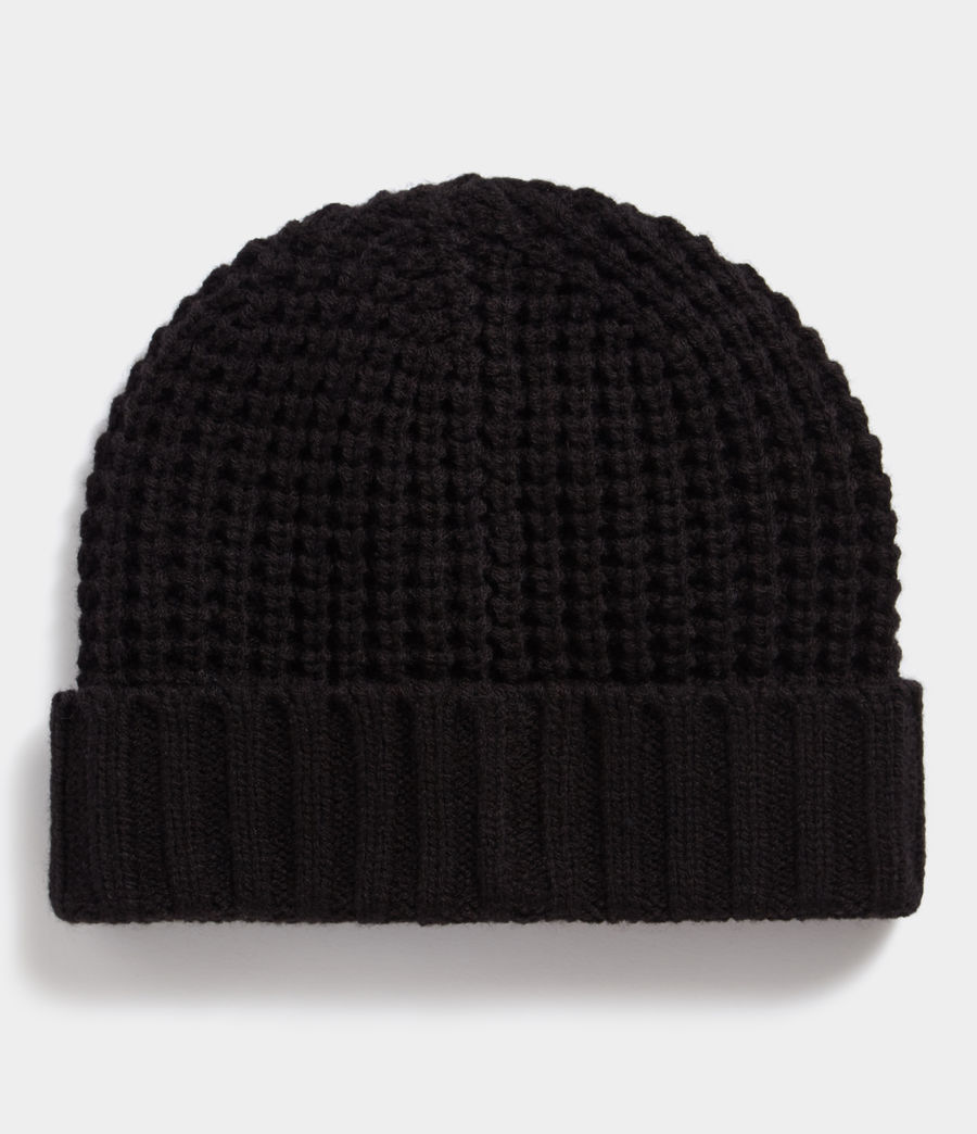 Mens Thermal Stitch Beanie (black) - Image 3