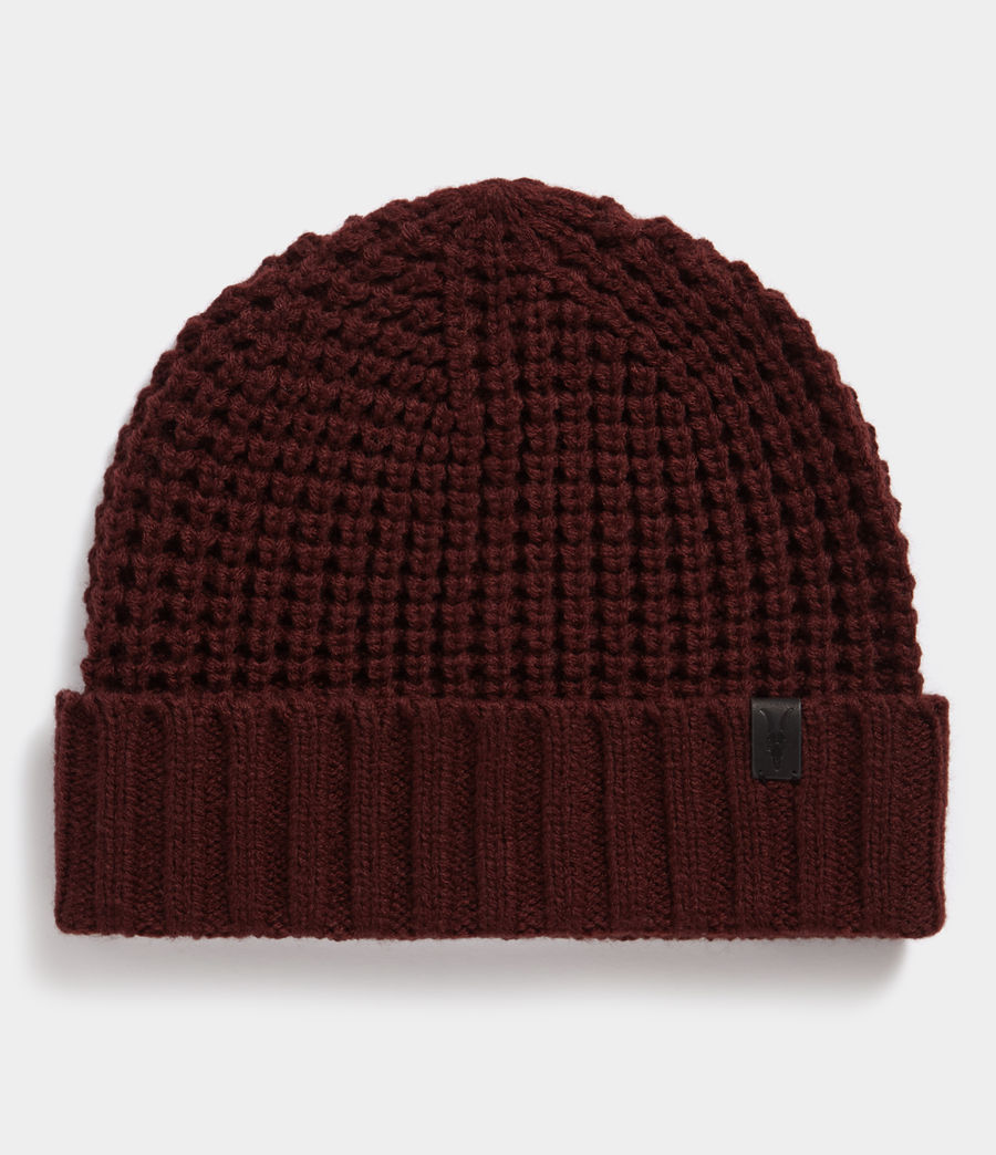 Hombres Thermal Stitch Beanie (dark_rust_red) - Image 1