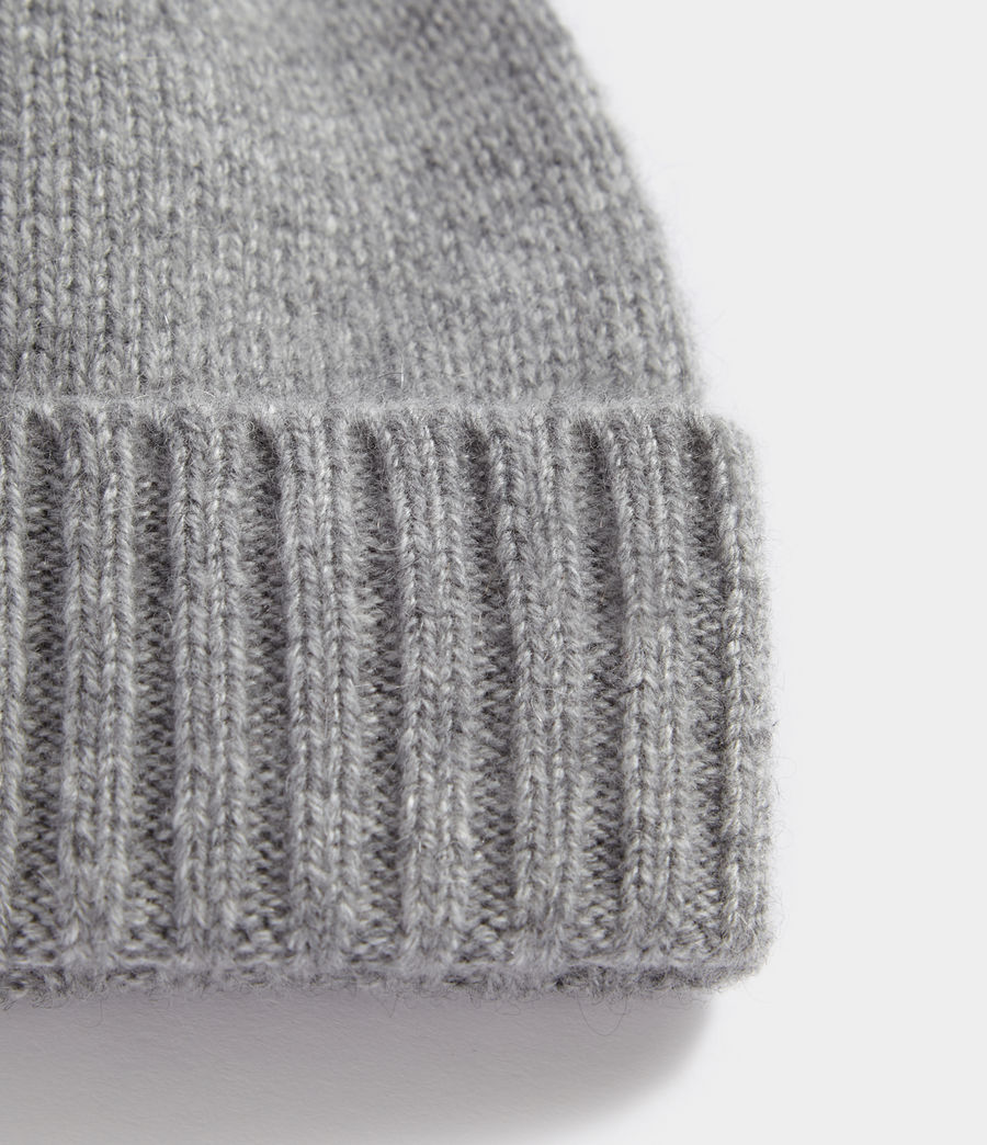 Men's Solid Cashmere Beanie (grey_marl) - Image 2