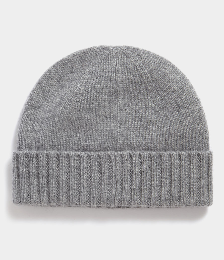 Men's Solid Cashmere Beanie (grey_marl) - Image 3