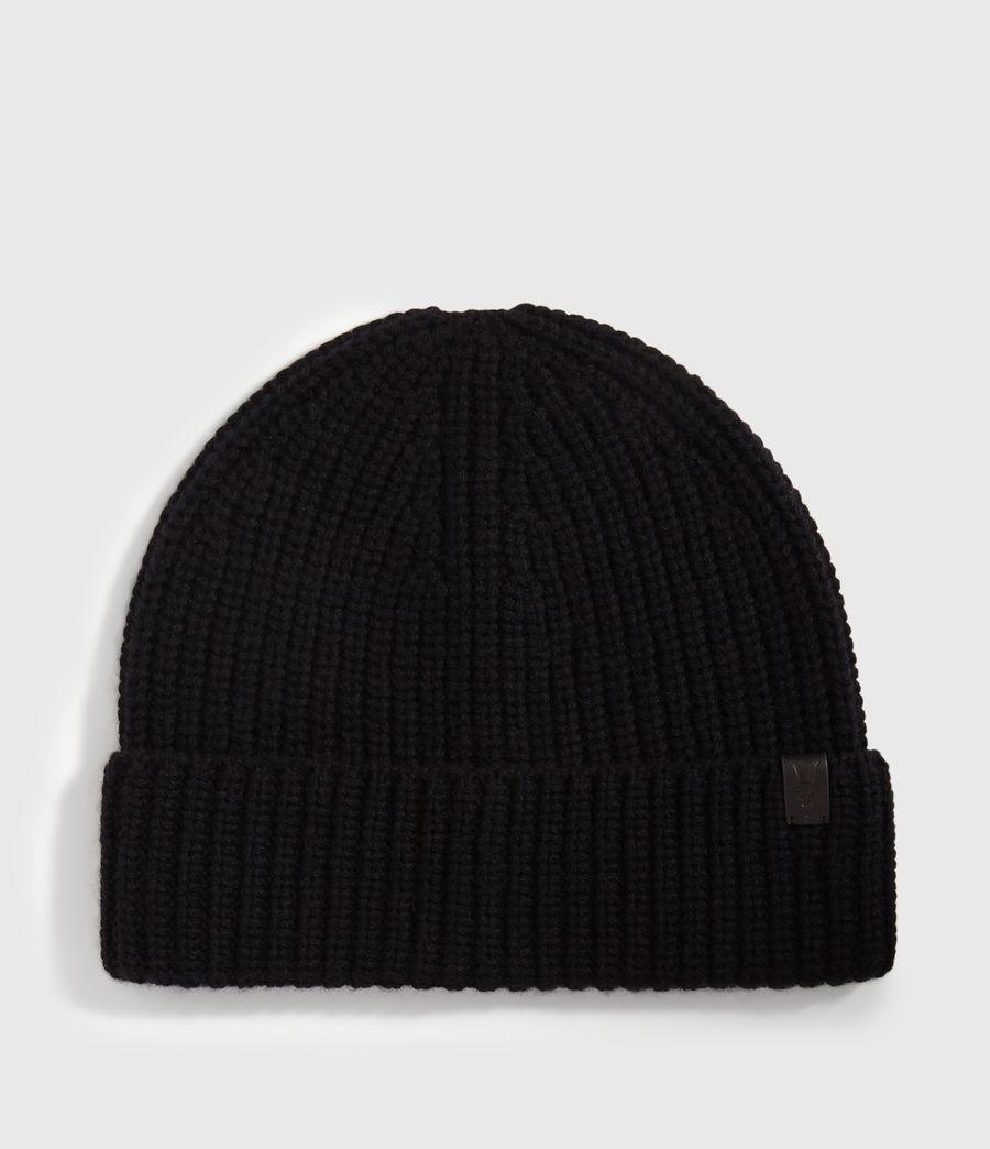 Uomo Berretto Half Cardigan - In lana merino e cashmere (black) - Image 1