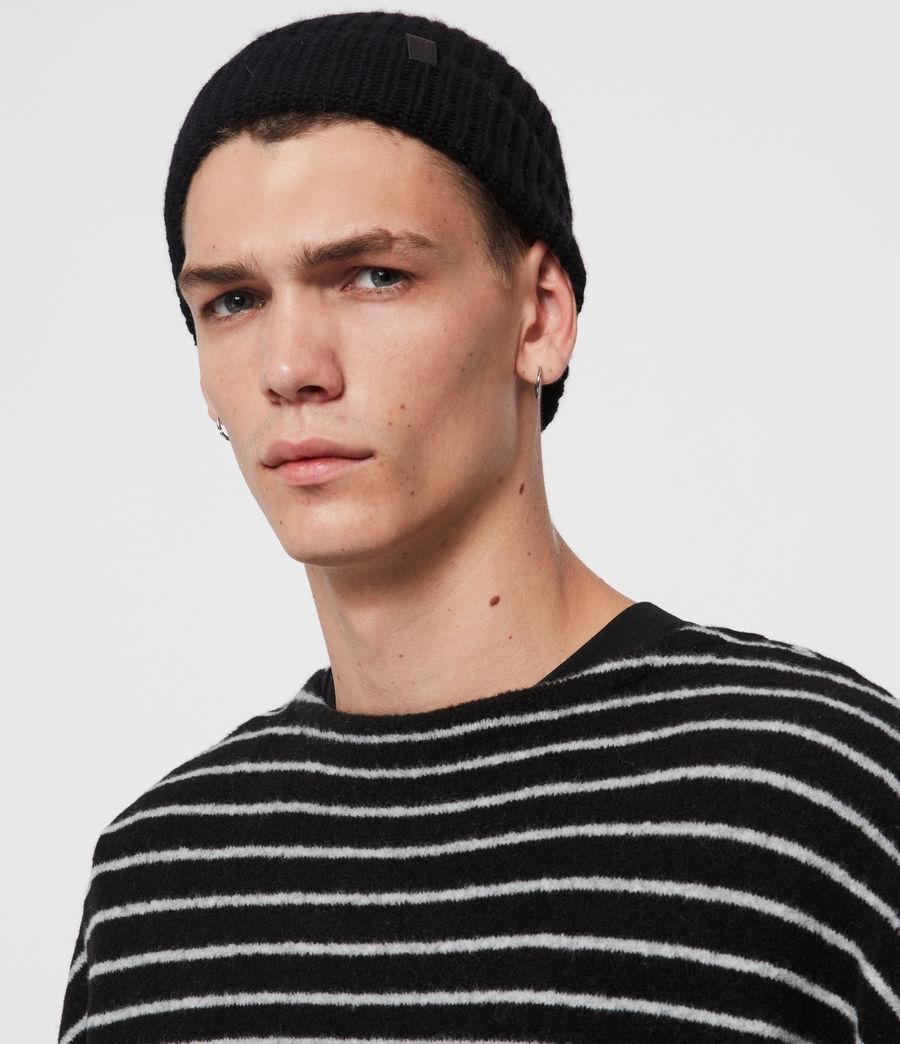 Uomo Berretto Half Cardigan - In lana merino e cashmere (black) - Image 2
