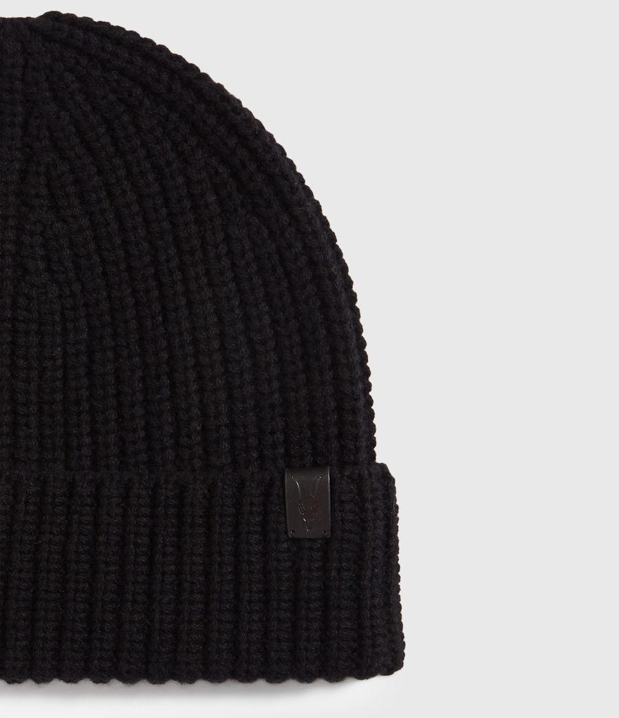 Uomo Berretto Half Cardigan - In lana merino e cashmere (black) - Image 3