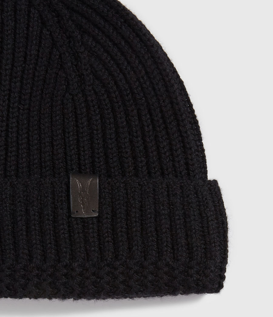 Men's Merino Wool Beanie (black) - Image 3
